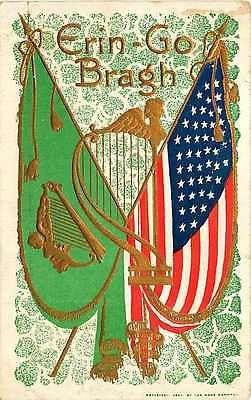 St Patrick's Day 1908 American and Ireland Flags Vintage Gold Embossed Postcard