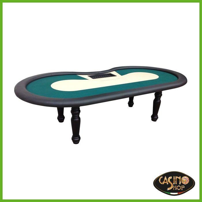 ART.0147  Tavolo da poker Texas Holde'm  Tavolo da Poker Texas Hold'em, con gettoniera e panno verde e beige (come riportato nella foto).  Le gambe sono in legno di faggio tornite, dal diametro massimo di 160 mm, anello poggia polsi in ecopelle colore nero.  Disponibile nelle dimensioni: 280x140 cm.