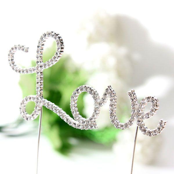 Buy Crystal Love Cake Topper Wedding Engagement Cake Decorationfor R99.36
