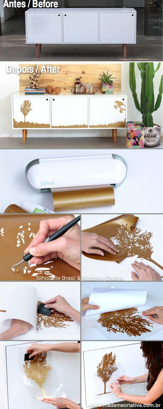 Veja o passo a passo como adesivar um móvel para mudar a decoração - Vinil adesivo Silhouette Brasil DIY - How to remodel furniture using vynil - Silhouette cutting machine