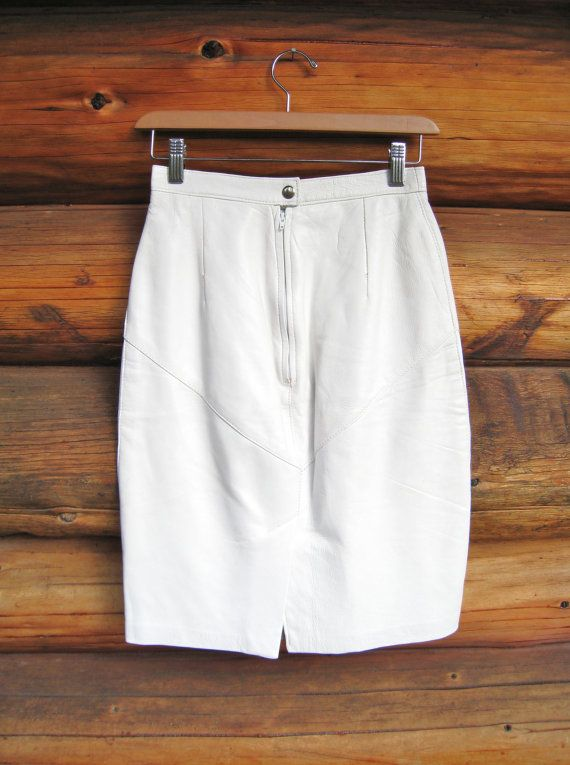 TRUNK SALE Sexy bone White Leather skirt / 80s by meLuxCollection, $44.00
