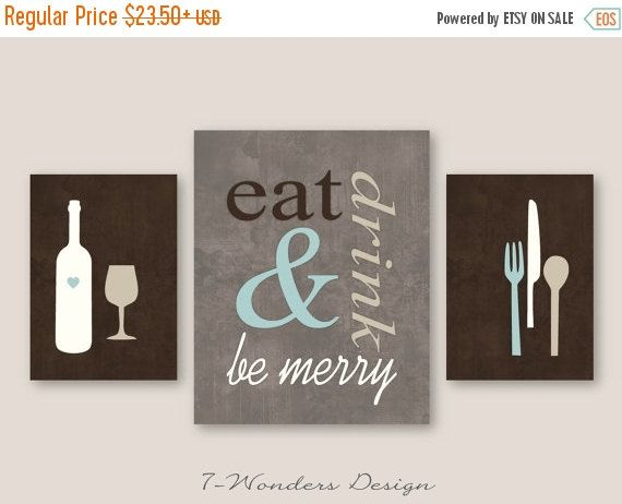 Eat Drink And Be Merry Modern Kitchen Art Print Set Of 2 Size Options Brown Dust Mute Blue Tan Cream Wall Unframed