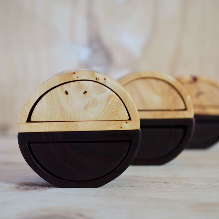 Huon Pine + Gidgee Ellipse a Pair box sets. Two separate boxes in beautiful Australian timbers that balance together perfectly