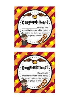 Harry Potter Theme Secret Student Award