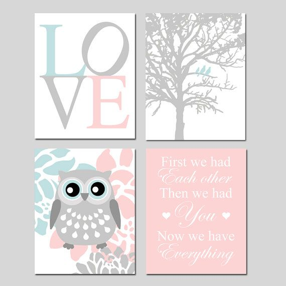 Baby Girl Nursery Art Quad  LOVE Birds in a Tree Floral by Tessyla, $65.00