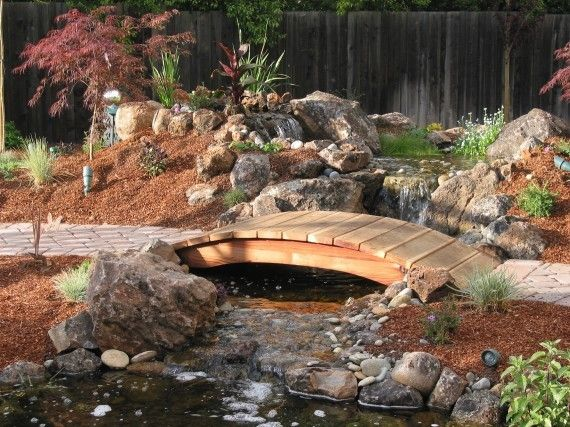 This is a koi pond with cascading waterfalls and a stream flowing into the pond…