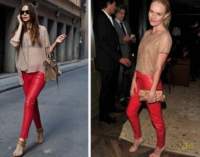 Red leather Pants + neutral