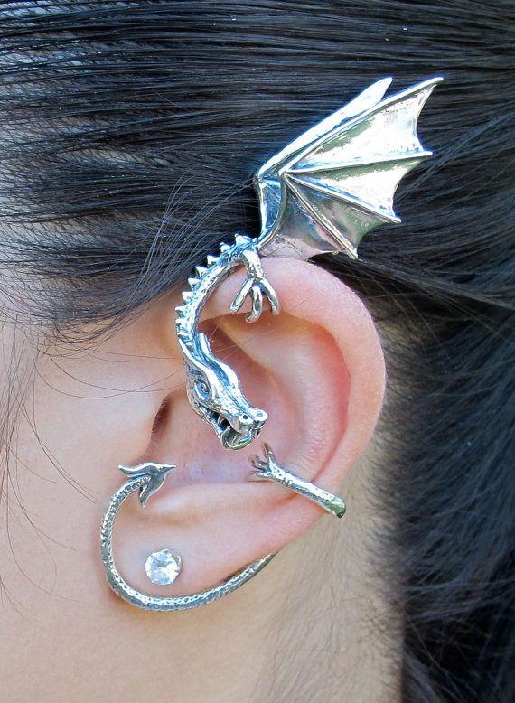 Dragon Ear Wrap Dragon Ear Cuff Silver Elfin Dragon by martymagic