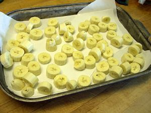Freezing Bananas, great for babies, banana bread and fruit smoothies.