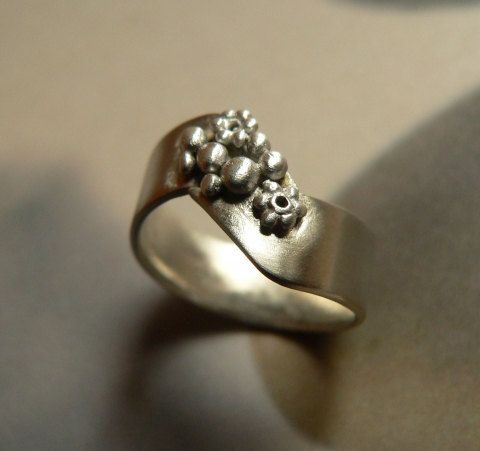 Flowers silver ring metalwork ring handmade natual OOAK by Mirma, $32.00