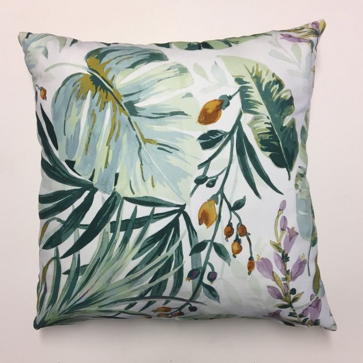 Autumn Splash Scatter Cushion 60cm X 60cm. Floral and leaf prints with plain back. Made from a 100% cotton front and back.