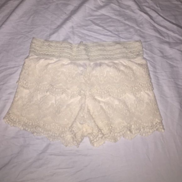 Cream lace shorts! Cream lace shorts, got from another posher and are too small, size medium but fit more like a small! Price is pretty firm and please no trades! Whispers Shorts