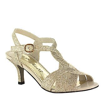 "Easy Street ""Glamorous"" T-Strap Sandals in Gold Glitter"