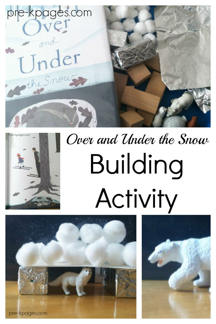 Winter book STEM activity for preschool. Use the book Over and Under to explore prepositions with a fun arctic, winter theme twist!
