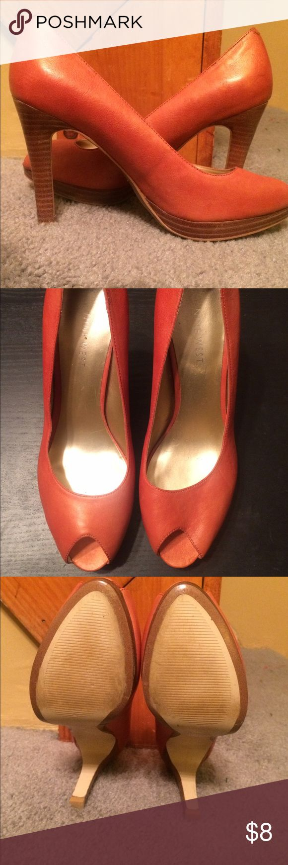 Nine West Orange leather peep toe heels 🍊 Coral orange with a golden shimmer. 4 1/2 inch heels and soft leather. Lightly worn and in great shape. Nine West Shoes Heels