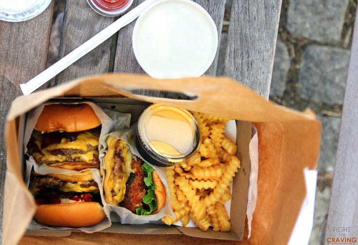 Shake Shacks Bacon Burgers (with Ranch Sauce) + Fried Mushroom Burger + cheese fries