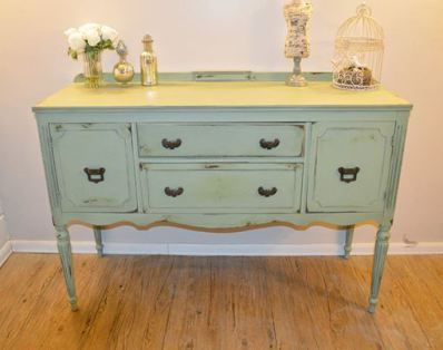 Green buffet table shabby chic muebles restaurados - Muebles shabby chic ...