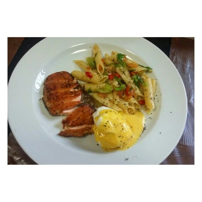 Pasta Salad, Cajun Salmon & Poached Egg Hollandaise sauce.. Yums!