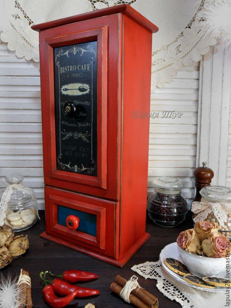 """Купить """"Французское кафе"""" Комод-буфет - красный цвет, комод для мелочей, комод для рукоделия, буфет"""