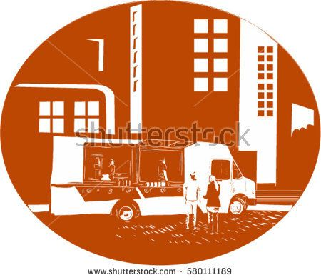Illustration of a mobile foodtruck with people talking set inside oval shape with city buildings in the background done in retro woodcut style.  #foodtruck #woodcut #illustration