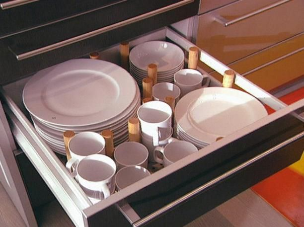 Dish Storage Is Ordinarily In Wall Cabinets But With No Upper Cabinets It Has To Move To Base Cabinet Drawers Our Reconfigurable Dish Drawers Use Pegs