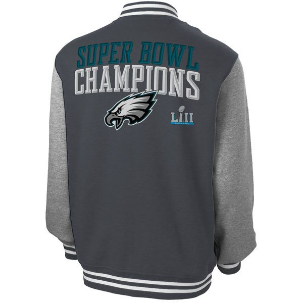 Men's Philadelphia Eagles NFL Pro Line by Fanatics Branded Charcoal Super Bowl LII Champions Wildcat Full-Snap Varsity Jacket