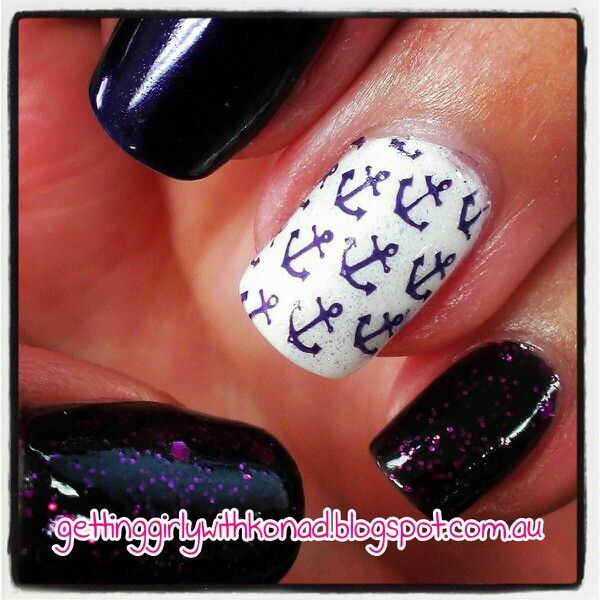 Fremantle Dockers Appreciation Nails - Picture Polish 'Aphrodisiac' - China Glaze 'White Out' and 'White Cap' stamped with 'Aphrodisiac' using Cheeky CH36 - Revlon 'Scandelous'