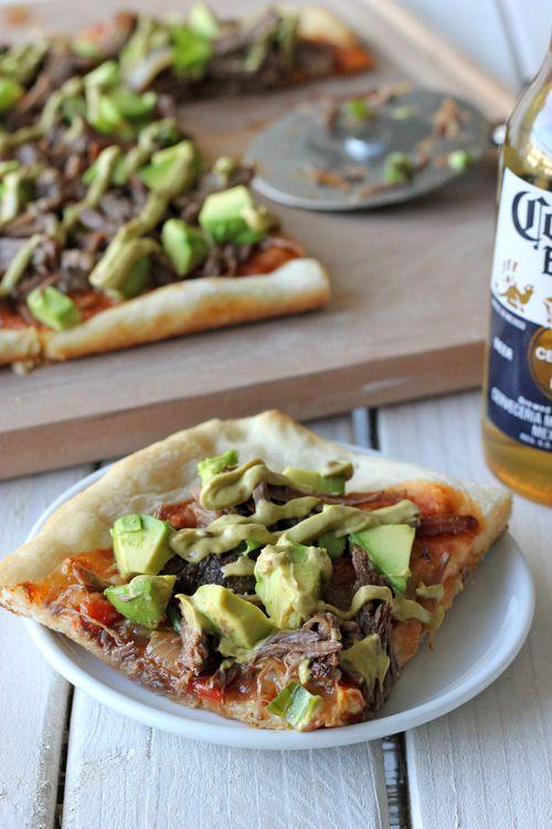Carnitas Avocado Pizza with Chipotle Avocado Mayonnaise Drizzle #SundaySupper - Damn Delicious