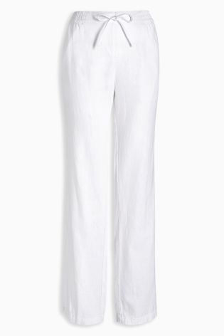 White Linen Blend Parallel Trousers