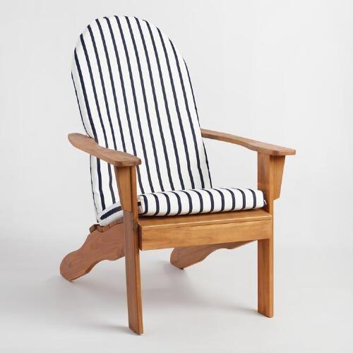Sunbrella Indigo Lido Stripe Adirondack Chair Cushion   World Market