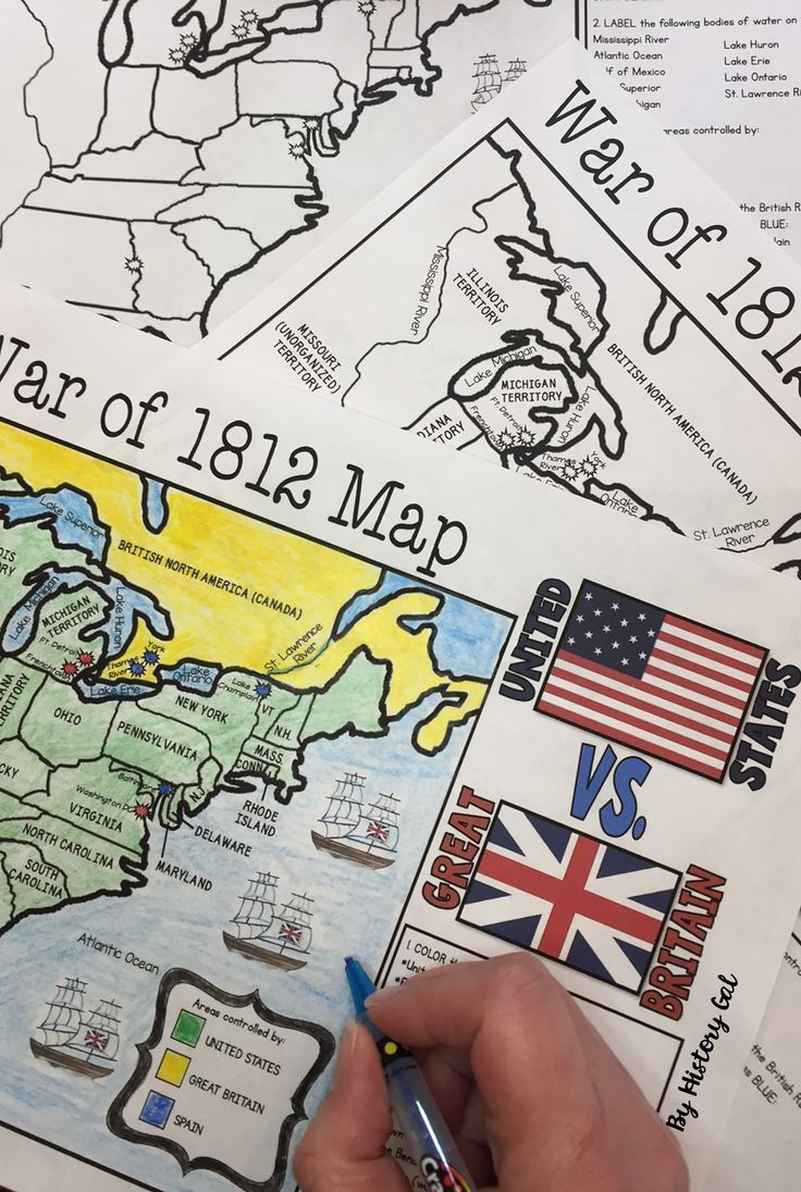 War Of 1812 Map Activity Print And Digital Map Activities Social Studies Middle School Teaching Us History