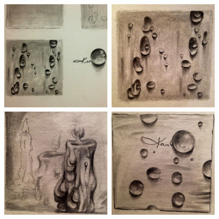 The faux wax and water sketches- We talk about shapes of shadows and subtle value changes. We work with the 6B drawing pencils, smudge sticks and kneaded erasers.