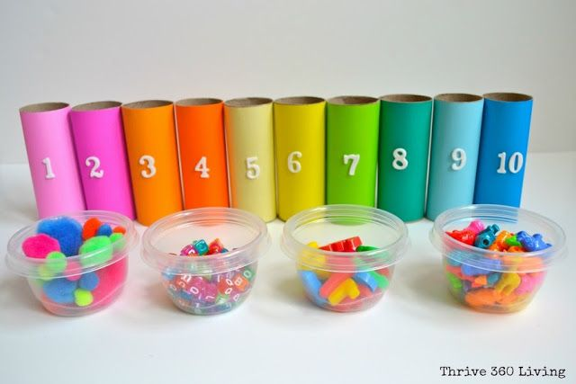 Practice numbers and colors with these five activities. All you need is colored paper, tape and paper towel rolls!