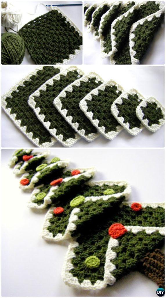 Crochet Vintage Granny Square Christmas Tree Free Pattern Instruction - Crochet Christmas Tree Free Patterns