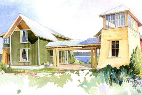 House Plan 479-6, elevation, #Houseplans #Cottage #ArchitectPeterBrachvogel