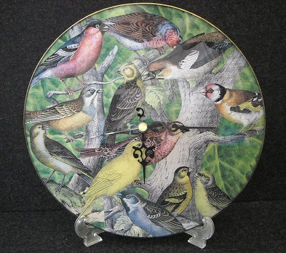 Glass clock decorated with decoupage by ArtCollagebyFiona on Etsy, $60.00