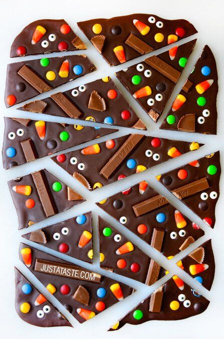 Halloween Candy Bark Recipe | Just A Taste - great way of using up all those odds and ends of Halloween sweets and chocolate!