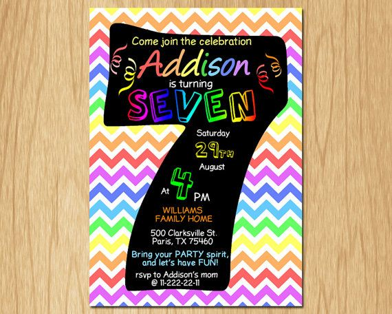 7th Birthday Invitation Rainbow Chevron Pastel Seventh Birthday Party Invite Boy or Girl Chalkboard Printable digital DIY KNB022