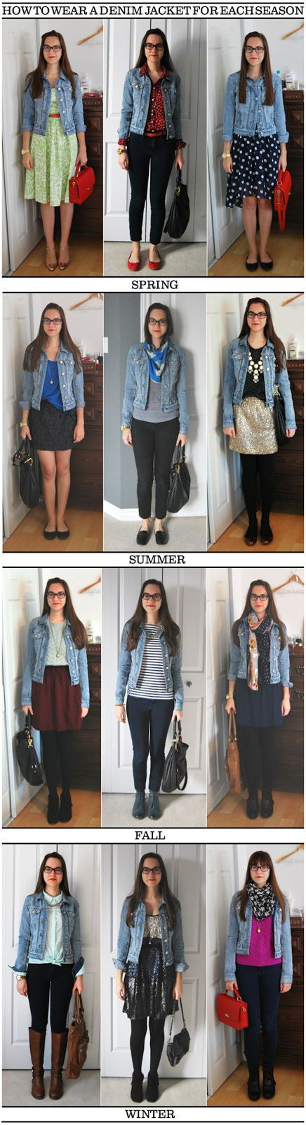 Use this simple outfit guide to figure out how to wear your denim jacket for each season.