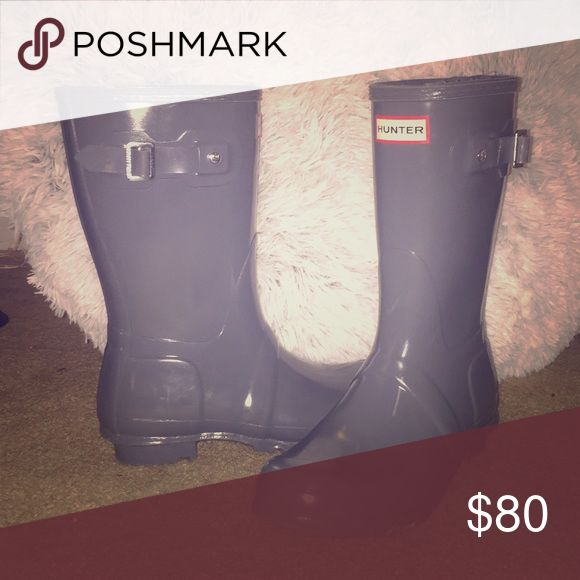 Hunter gray, short rain boots Fashionable gray, glossy, short rain boots! Like new, with small scratch on front of boot. Hunter Boots Shoes Winter & Rain Boots
