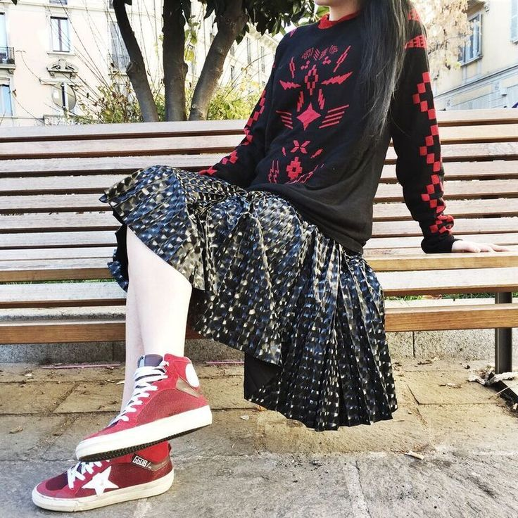 Look of the day: @marceloburlon kintwear + @douuodwoman skirt + @goldengoosedeluxebrand sneakers. Shop the look at www.eliteboutique.it #eliteboutique #fashion #shopping #sale