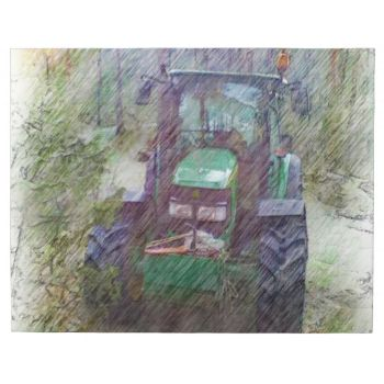 A green tractor in the forest with tree and a path behind the tractor. The tractor has four big wheels. The tractor has two light that is off in the front. #forest #tractor #tree #path #forest-path #green-tractor drawing-effect