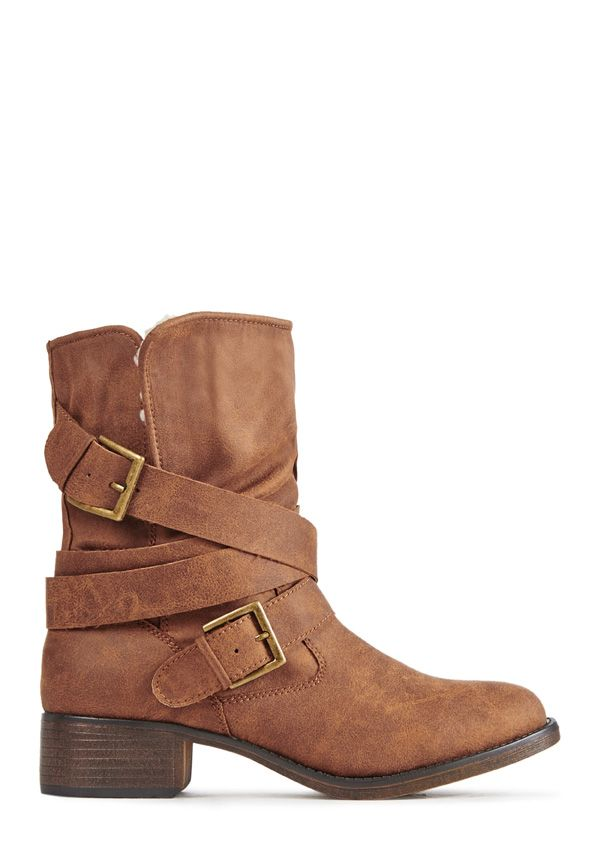 Comfy, cozy, and perfect for cool weather, JF Sammy by JustFab is a short bootie with wraparound buckled straps and faux shearling lining.