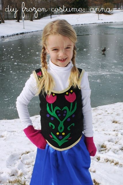 """DIY Frozen Anna Costume   Life as MOM - Create this simple and inexpensive costume for your daughter to play """"Anna"""" from the Disney film, Frozen."""