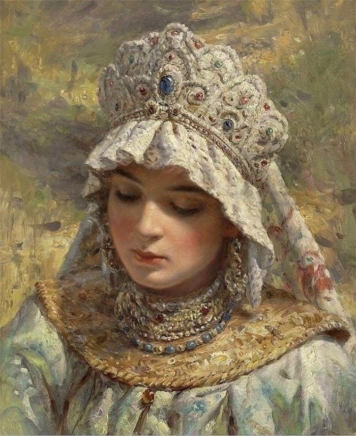 Russian Beauty in headdress by Konstantin Makovsky - detalhes incríveis