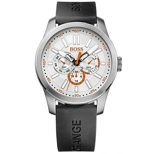 Relógio Hugo Boss 1512934, com pulseira de borracha preta. Custa, em média, R$ 450,00; Mecanismo Quartzo Resistência 3 ATM.