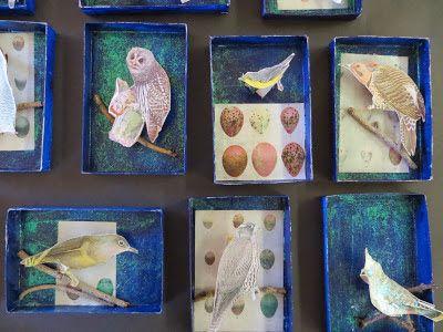 Joseph Cornell inspired Dream boxes. Wintery animals.