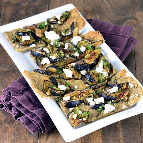 Eggplant, Fig & Goat Cheese Flatbread - Clean Eating (flatbread made with garbanzo/chickpea flour)