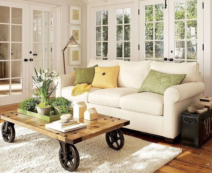 Best Photos Of Furnitures For Small Living Room Design Ideas. Comfy Medium  White Sofa With Three Cushions And Wooden Coffee Table With Wheel Base On  White ... Good Ideas
