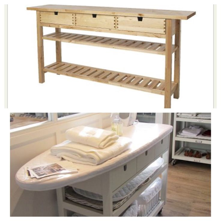 Mobile ironing board for laundry room. IKEA hack.